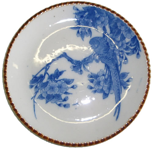 Old Japanese dish with bird motif
