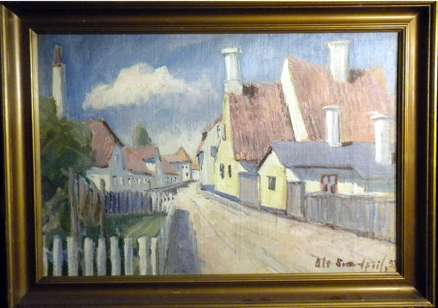 Scene from Ebeltoft, Denmark by the danish artist Ole Svaerdpiil