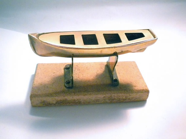 Brass dinghy on tripod