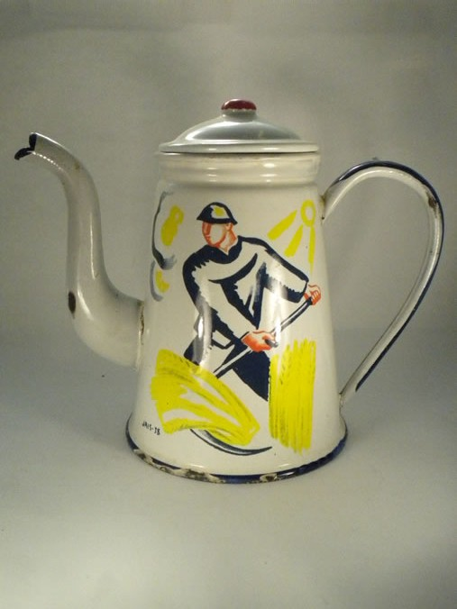 Enamel coffee pot with hand decorated motif from the 30's